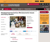 Development Economics: Microeconomic Issues and Policy Models, Fall 2008