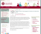 Resource Guide for Family Engagement in Education at the High School Level