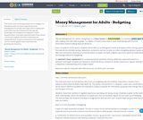 Money Management for Adults - Budgeting
