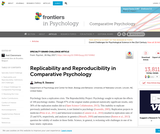 Replicability and Reproducibility in Comparative Psychology