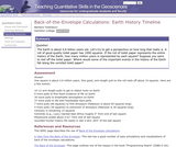 Back of the Envelope Calculations: Earth History Timeline