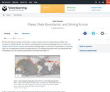 Plate Tectonics II: Plates, plate boundaries, and driving forces