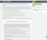 Remote Learning Plan: Descriptions Grade Level 9 - 12