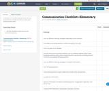 Communication Checklist—Elementary