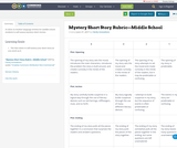 Mystery Short Story Rubric—Middle School