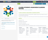 CLAIMS–EVIDENCE–REASONING PLANNING	MATRIX