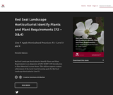 Red Seal Landscape Horticulturist Identify Plants and Plant Requirements (F2 - 3and4)