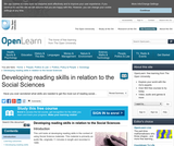 Developing Reading Skills in Relation to the Social Sciences