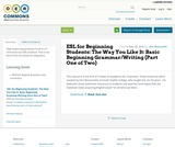 ESL for Beginning Students: The Way You Like It: Basic Beginning Grammar/Writing (Part One of Two)