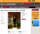 Major Authors: America's Literary Scientists, Fall 2010