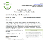 Harvest and Celecbrate: Fifth Grade Lesson Plans