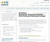 Analyzing Arguments--Propaganda (Robbie Pock, Portland Community College)