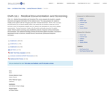 CMA 111 - Medical Documentation and Screening