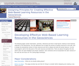 Creating Effective Web-based Learning Resources in the Geosciences