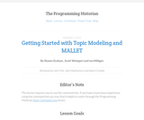 The Programming Historian 2: Getting Started with Topic Modeling and MALLET