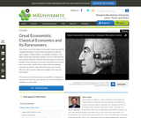 Great Economists: Classical Economics and Its Forerunners