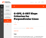 G-GPE, G-SRT Slope Criterion for Perpendicular Lines