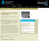 Essential Science for Teachers: Physical Science