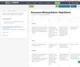 Persuasive Writing Rubric—High School