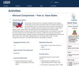 Missouri Compromise – Free vs. Slave States