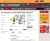 Fundamentals of Advanced Energy Conversion, Spring 2004