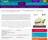 """Close Reading Exemplar: """"The Making of a Scientist"""""""