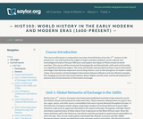 World History in the Early Modern and Modern Eras (1600-Present)