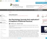 Are Psychology Journals Anti-replication? A Snapshot of Editorial Practices
