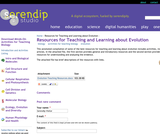 Resources for Teaching and Learning about Evolution