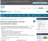 Business Organisations and their Environments: Culture