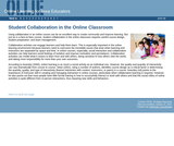 Student Collaboration in the Online Classroom