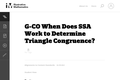 When Does SSA Work to Determine Triangle Congruence?