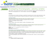 Investigating Chromatography: Selecting Variables