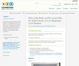 Parts of the Body, an ESL Lesson Plan for Adult Literacy or Low-Beginning Level Students