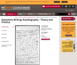 Expository Writing: Autobiography - Theory and Practice, Spring 2001