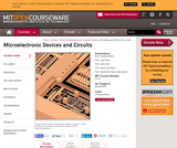 Microelectronic Devices and Circuits, Spring 2009