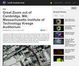Great Zoom out of Cambridge, MA: Massachusetts Institute of Technology Kresge Auditorium