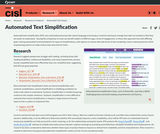 Research on Automated Text Simplification