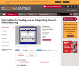 Information Technology as an Integrating Force in Manufacturing, Spring 2003