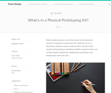 Teach Design: What's in a Physical Prototyping Kit