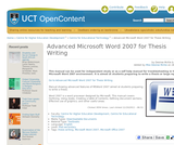 Advanced Microsoft Word 2007 for Thesis Writing