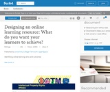 Designing an online learning resource: What do you want your learners to achieve?