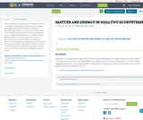 MATTER AND ENERGY IN HEALTHY ECOSYSTEMS