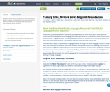 Family Tree, Novice Low, English Foundation