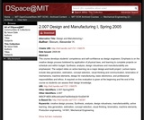 Design and Manufacturing I, Spring 2005