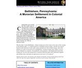 Bethlehem, Pennsylvania: A Moravian Settlement in Colonial America