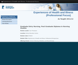 Experience of health and illness: Professional focus