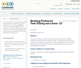 Reading Technical Text: Filling out a form - L7