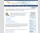 Financing Businesses and Public Projects with Stocks and Bonds