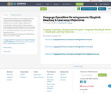 Cengage OpenNow Developmental English Reading & Learning Objectives
